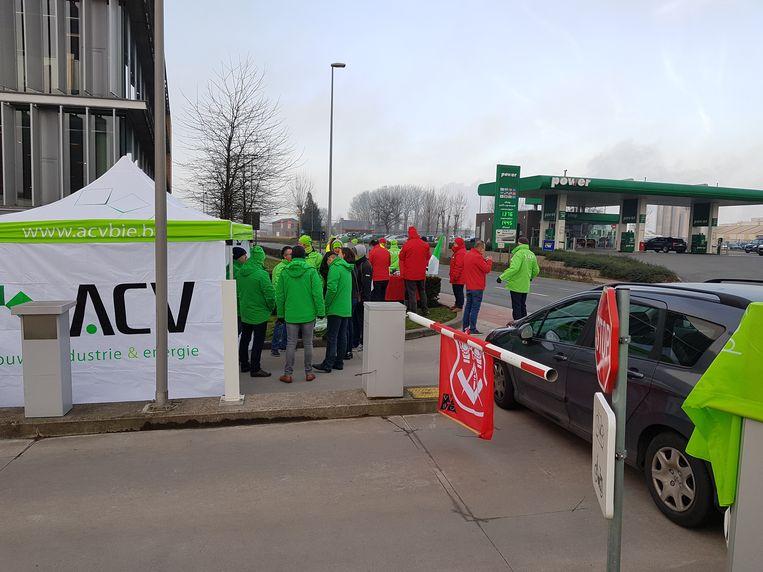 De stakingspost bij Unilin in Wielsbeke.