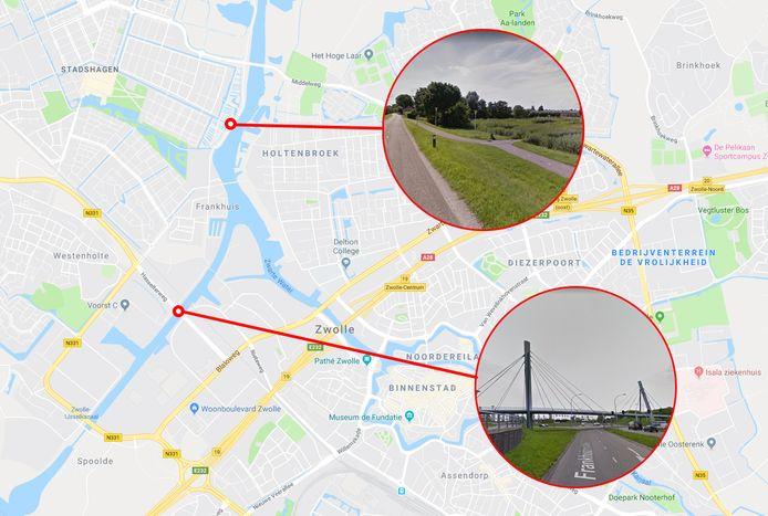 Twee plekken waar mensen werden bedreigd met een pistool in Zwolle. De fietsafstand bedraagt zo'n vijf minuten.