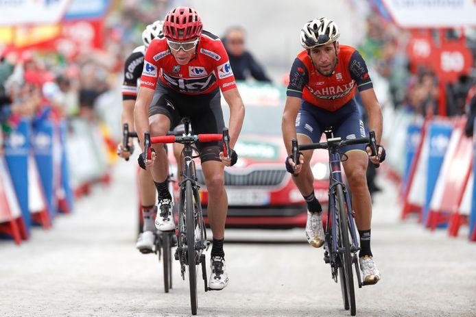 Vincenzo Nibali (rechts) zij aan zij met Chris Froome tijdens de voorbije Vuelta.