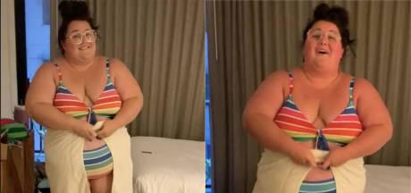 Avec humour, elle montre à quel point les hôtels ne sont pas adaptés aux personnes obèses