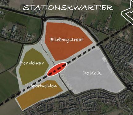 Een schets van de locatie, met het station in het midden