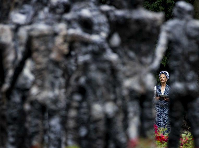 Aldith Hunkar tijdens de landelijke herdenking van het slavernijverleden in het Oosterpark.  Beeld ANP