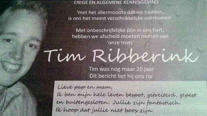 De rouwadvertentie in de plaatselijke krant Twentsche Courant Tubantia.