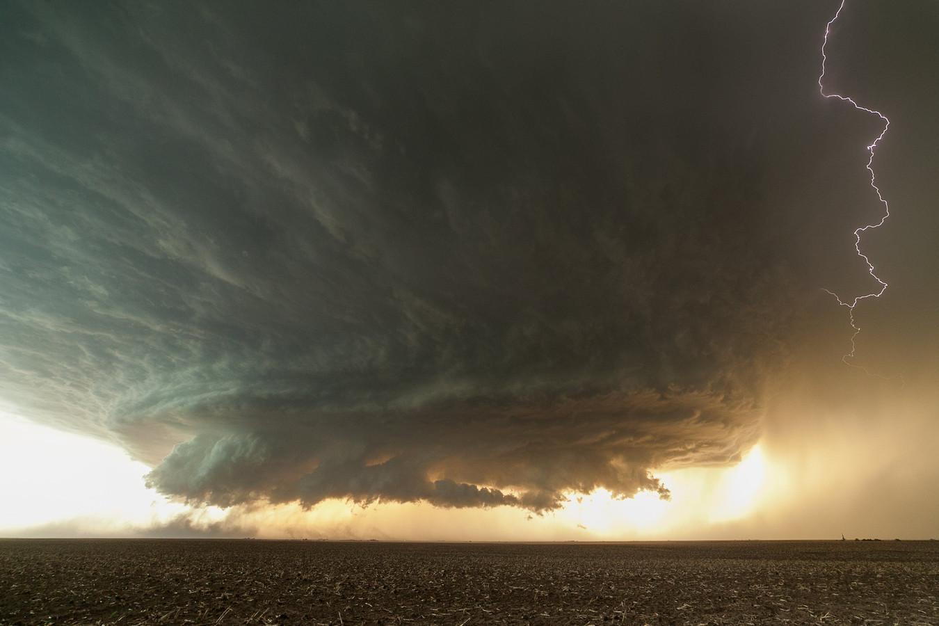 Een supercel onweer.