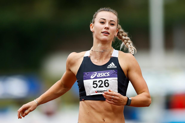 Nadine Visser op de 100 meter tijdens de EK van augustus. Beeld Hollandse Hoogte /  ANP