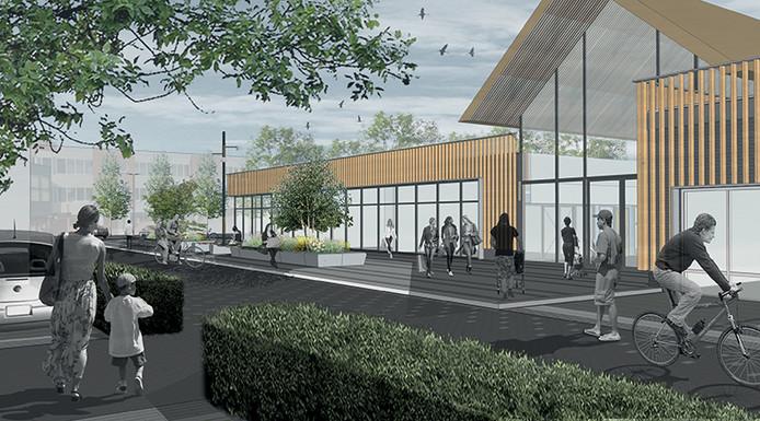 Tekening vernieuwde winkelcentrum Stroink