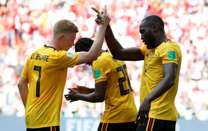 De Bruyne en Lukaku op het WK 2018 tegen Panama.