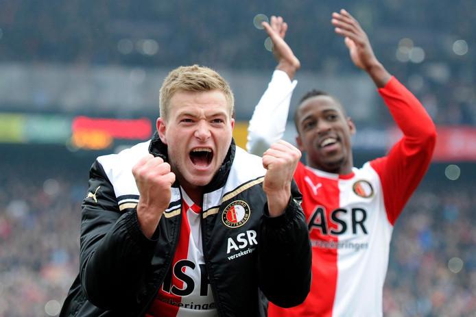 John Guidetti viert zijn hattrick tegen Ajax op 29 januari 2012.
