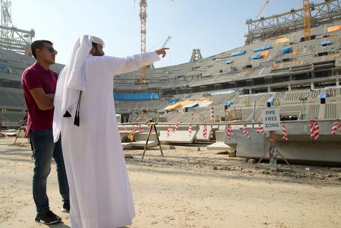 Het Lusail Iconic Stadium in Doha, Qatar in aanbouw.