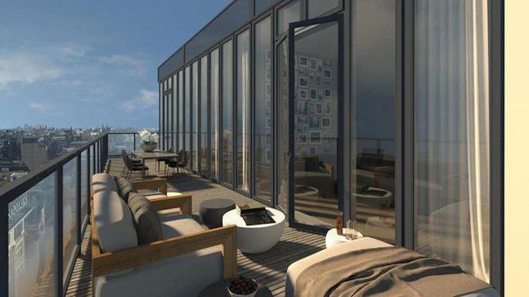 Een balkon van een van de luxueze appartementen die volgend jaar worden opgeleverd. Beeld arons en gelauff architecten