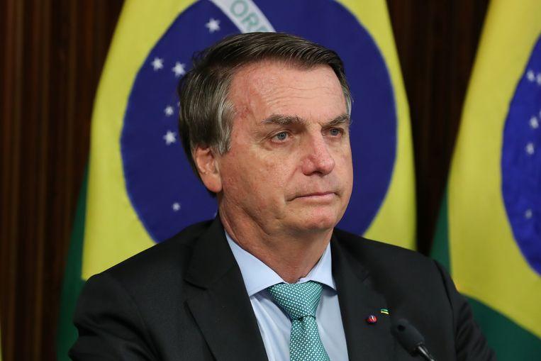 De Braziliaanse president Jair Bolsonaro donderdag tijdens de virtuele klimaattop met internationale leiders. Beeld Via REUTERS