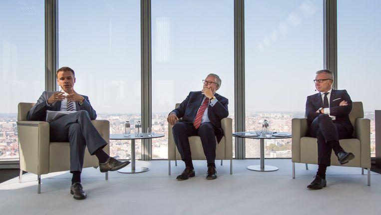 Belfius CFO Johan Vankelecom, board chairman Jos Clijsters en CEO Marc Raisiere tijdens een persconferentie om de resultaten van het eerste semester van dit jaar toe te lichten.