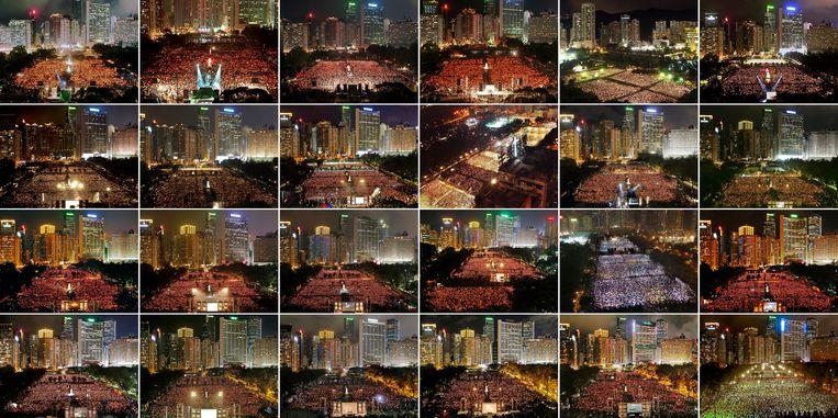 Deze montage toont de wake in Hongkong voor het bloedbad op het Plein van de Hemelse Vrede in Peking van de jaren 1997 tot en met 2020: linksboven 1997, rechtsonder 2020. Beeld AP