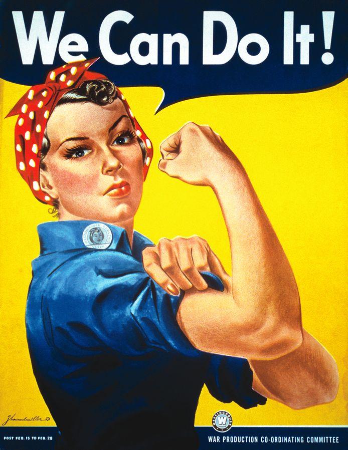 Poster met 'Rosie the Riveter' die vrouwen oproept hun steentje bij te dragen aan de Amerikaans oorlogsindustrie.