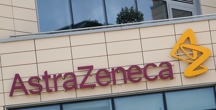 Het logo van AstraZeneca.