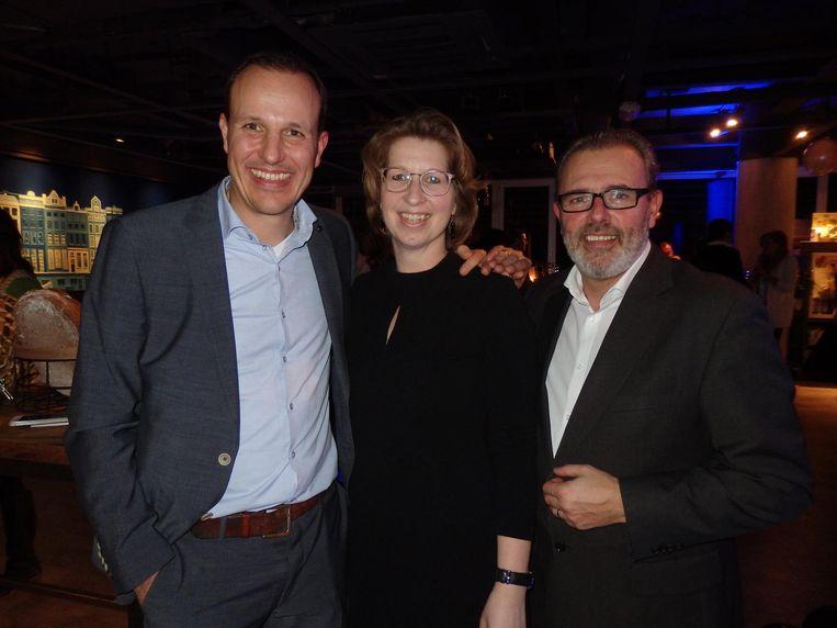 Michiel Heilijgers en Ingrid van der Wal-Koek, beiden van Regardz Hospitality Group, en José Del Olmo, initiator van Level Eleven Beeld Schuim