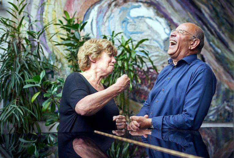 Rabbijn Marianne van Praag en baptistendominee Orlando Bottenbley. Beeld Phil Nijhuis