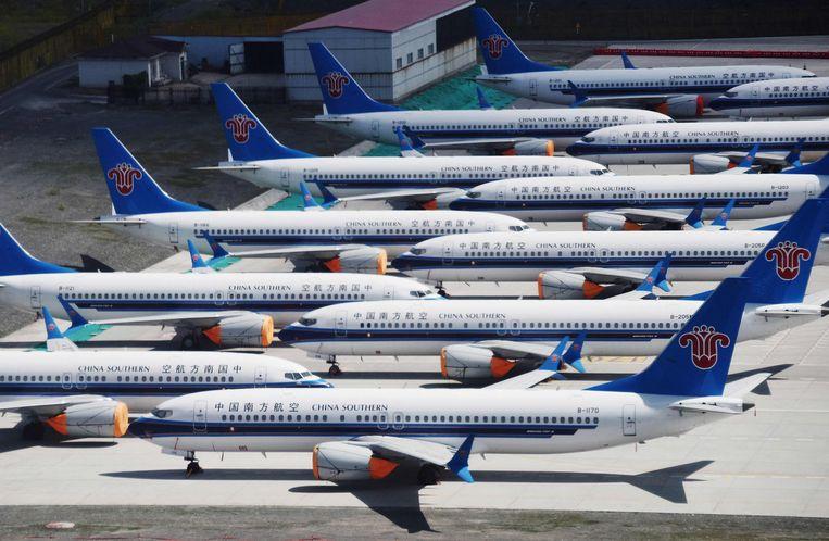 Boeing 737 MAX-toestellen van China Southern Airlines op de luchthaven Urumqi, Xinjiang. Beeld AFP