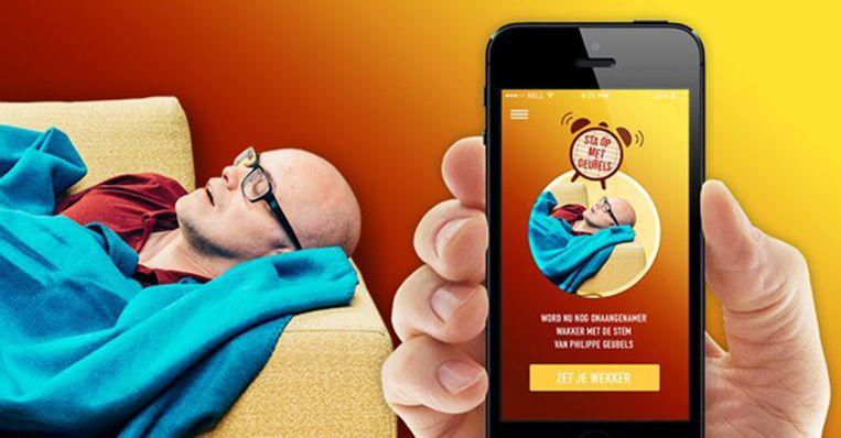 'Opstaan met Geubels' is een opmerkelijke aanwezige in de top 50 meest gedownloade gratis apps. Beeld sbs
