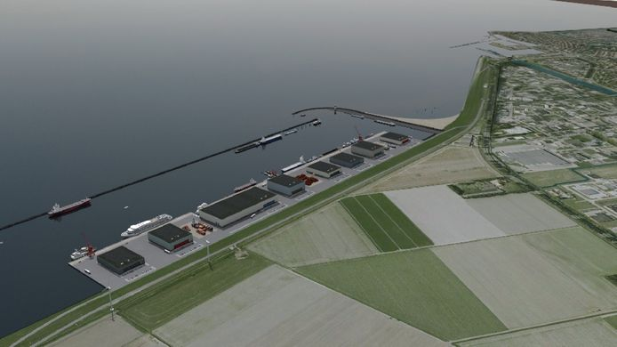 Impressie van de buitendijkse haven van ongeveer tien hectare bij Urk. Hiernaast moet het industrieterrein van ongeveer 100 hectare komen.