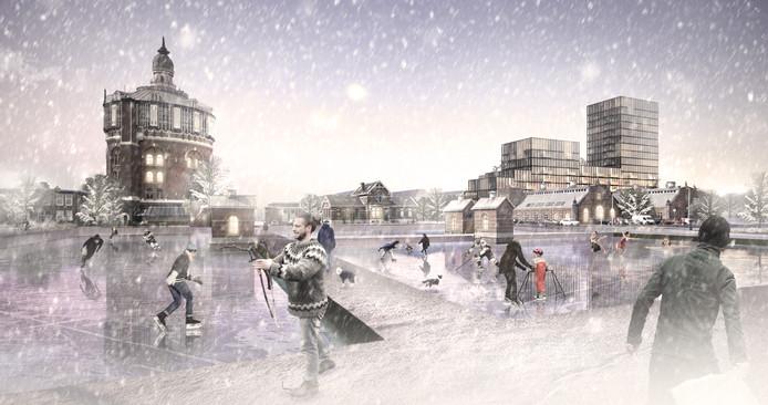 Winter in De Esch. Zicht op de nieuwbouw en de karakteristieke watertoren.