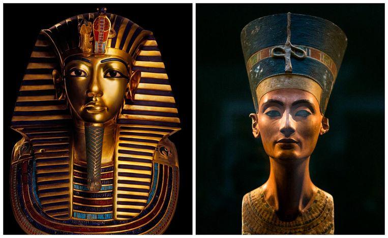 Toetanchamon en Nefertiti (r.). Beeld rv, AP