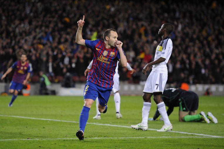 Toen leek alles koek en ei voor Barcelona: Iniesta maakt er 2-0 van. Beeld GETTY