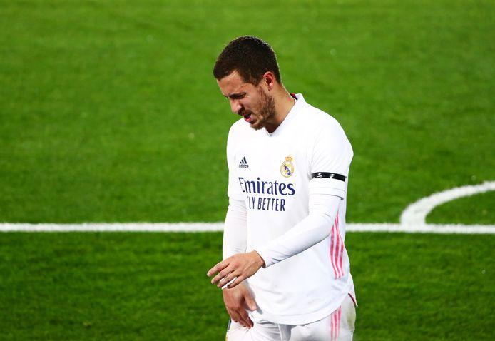 Eden Hazard kort nadat hij zijn recentste blessure opliep.