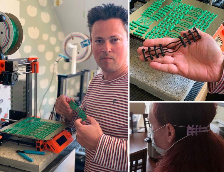 Robin Gantois maakt clips voor mondmaskers. Beeld RV