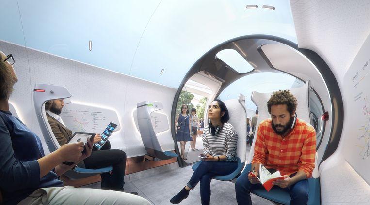 Artistieke voorstelling van de Hardt Hyperloop, een zwevende magneettrein die wordt ontwikkeld in Delft Beeld Hardt