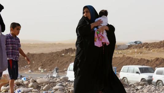 Een vluchteling uit Irak in een vluchtelingenkamp in Irbil, ten noorden van Bagdad