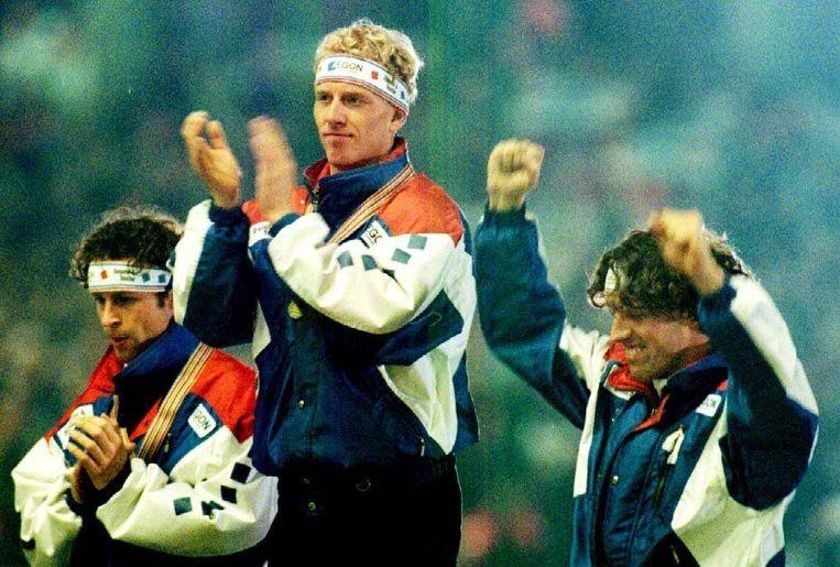 Het EK-podium van 1996. Ids Postma, Rintje Ritsma en Martin Hersman. Beeld ANP