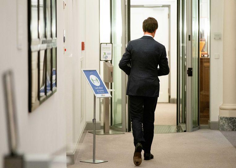 Januari 2021. Premier Mark Rutte geeft een toelichting aan de pers na afloop van een extra ministerraad over de toeslagenaffaire. Beeld ANP