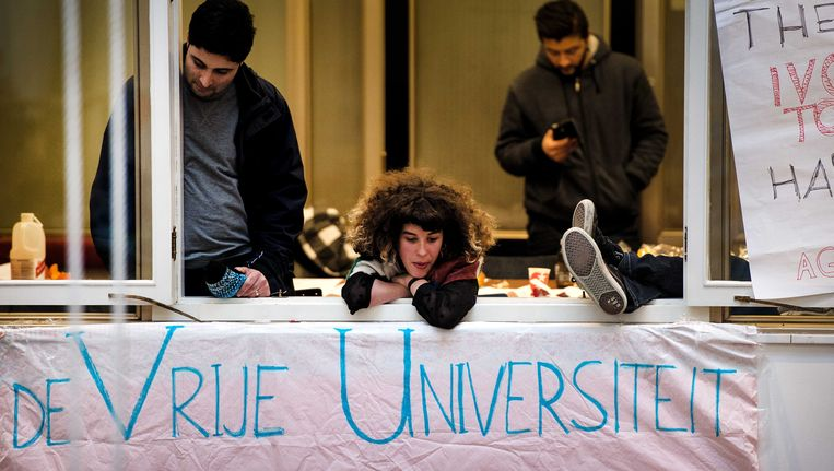 De studenten in het Maagdenhuis hebben woensdag uitgeroepen tot nationale actiedag Beeld ANP