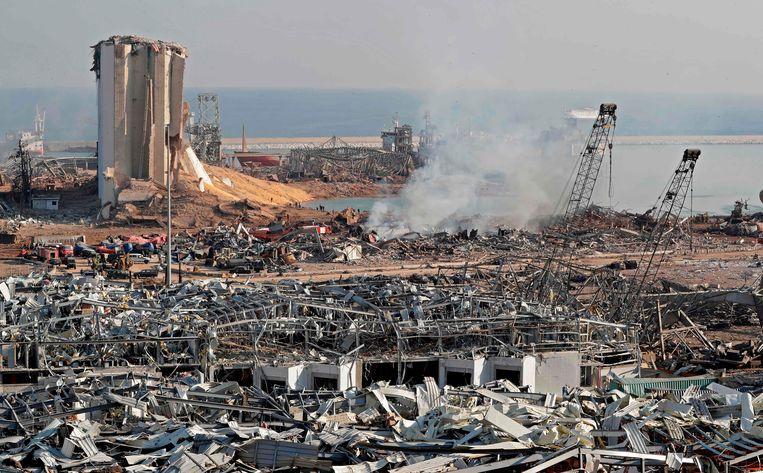 De haven is volledig vernield. Beeld AFP