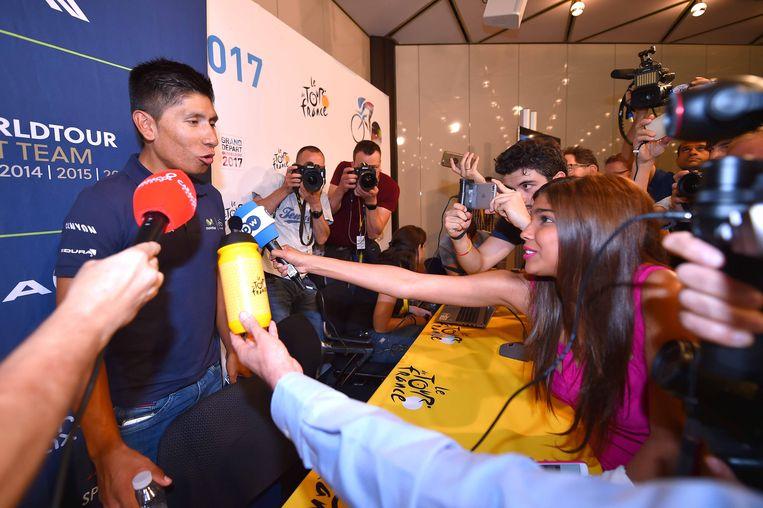 Nairo Quintana, de Colombiaanse hoop op een Tour-zege, tijdens de persconferentie. Beeld TDW