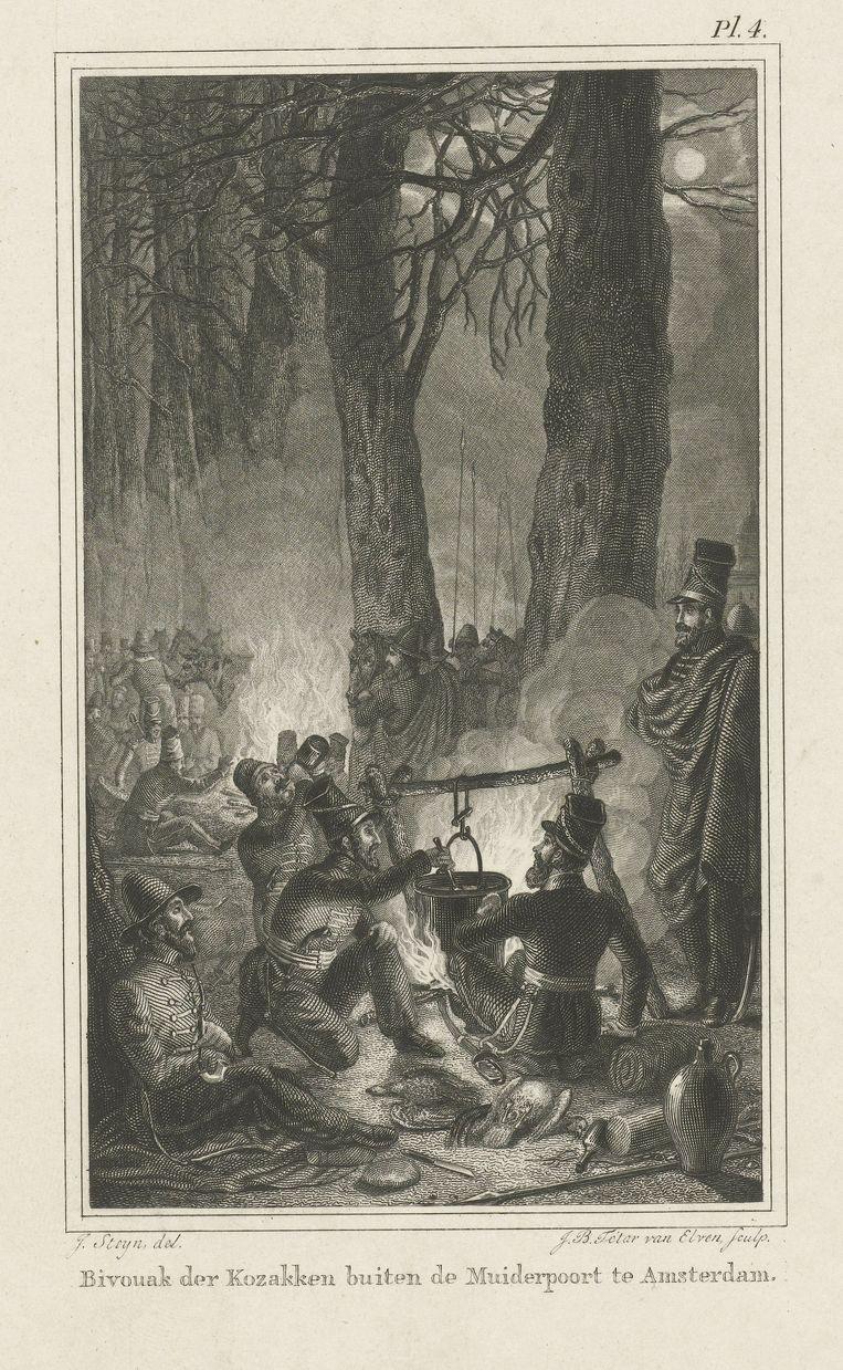 Jan Baptist Tetar van Elven (naar Johannes Steyn):'Soldaten tijdens de maaltijd', 1815-1889. Beeld Rijksmuseum