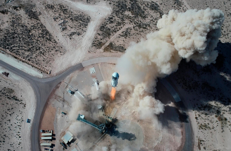 14 januari 2021: ruimteschip New Shepard NS-14 van Blue Origin wordt gelanceerd vanuit Texas. Beeld AP