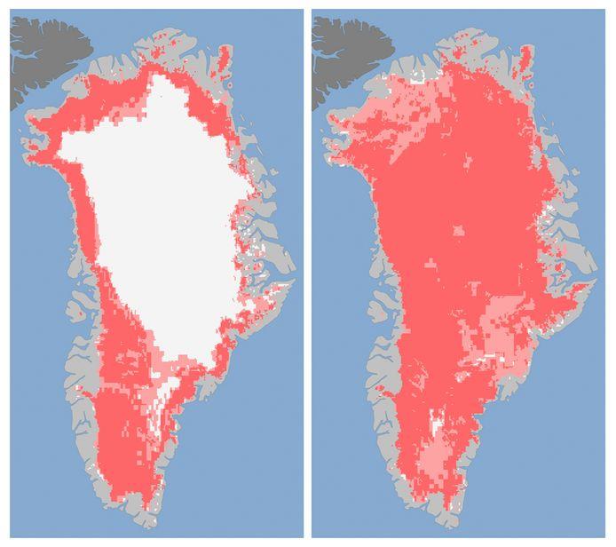 Het landijs op Groenland op 8 juli (links) en 12 juli.