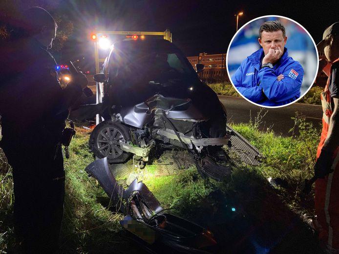 Bij het ongeluk reed John Stegeman (inzet) zijn auto total loss.