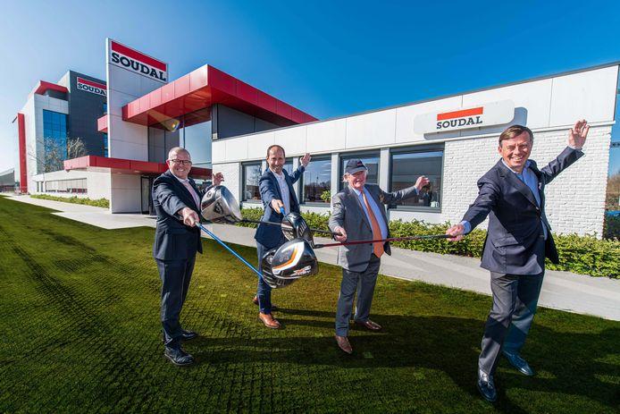 Bob Verbeeck (CEO Soudal),  Dimitri Rombouts (CEO Rinkven golf), Vic Swerts (CEO Soudal) en Manu Rombouts (voorzitter van de Belgische golffederatie).