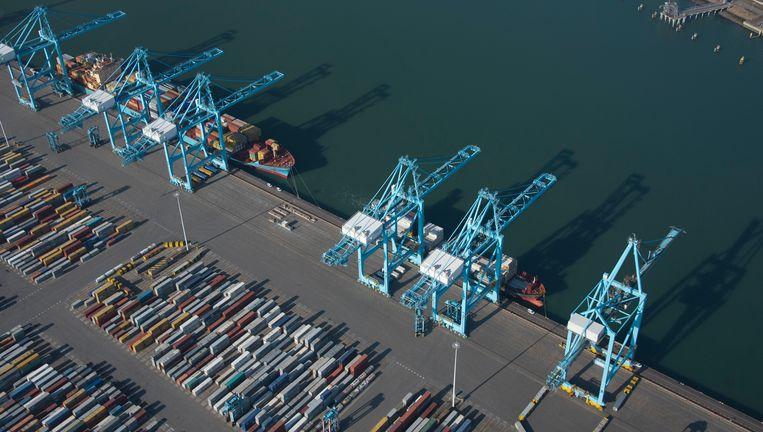 Containerterminals van APM die zijn aangevallen door hackers. Het havenbedrijf ligt stil na een ransomware aanval. Beeld ANP