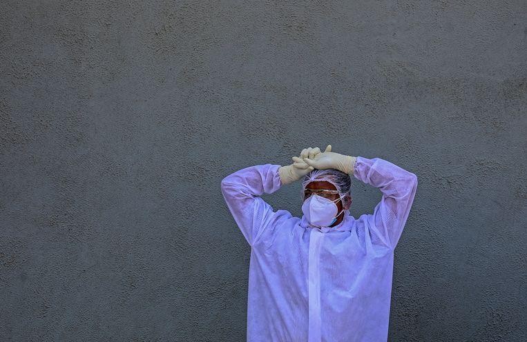 In absolute cijfers wordt India met in totaal meer dan 21 miljoen geregistreerde besmettingen het zwaarst getroffen door de coronapandemie. Beeld EPA