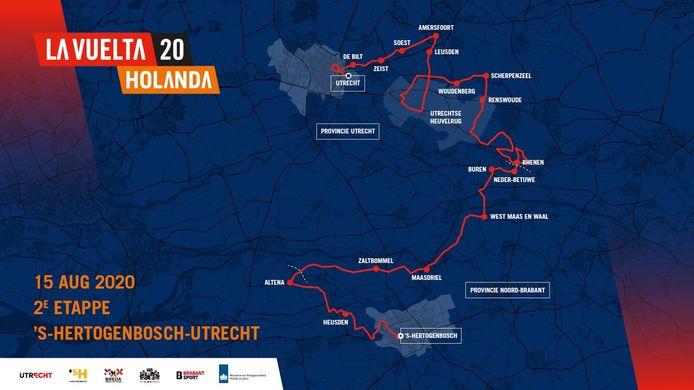 Kaartje van de tweede etappe van de Ronde van Spanje in Nederland. De oorspronkelijke datum van de etappe ging niet door vanwege de coronacrisis.