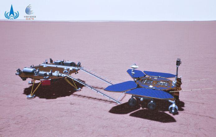 Een computerimpressie van het moment waarop de Zhurong het landingsplatform verliet en de Marsbodem opreed.