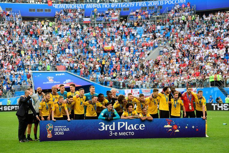 In het Krestovski-stadion in Sint-Petersburg veroverden de Rode Duivels brons tegen Engeland op het WK van drie jaar geleden. Beeld Photo News