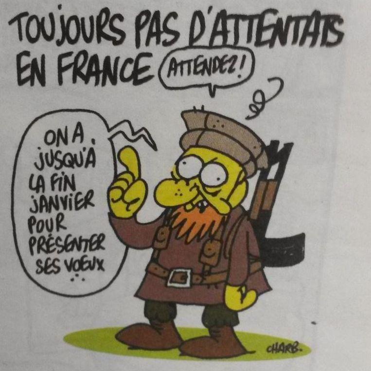 De laatste cartoon van Charb, die vandaag verscheen. Beeld Charlie Hebdo