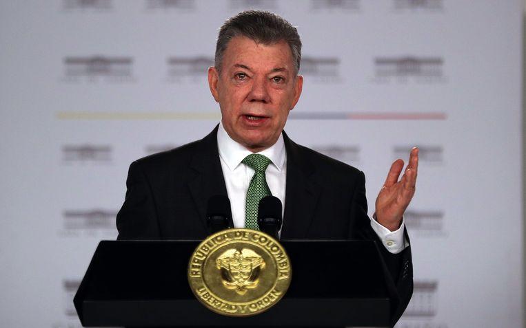De Colombiaanse president Juan Manuel Santos is aan de laatste dagen van zijn ambtstermijn bezig. Dinsdag wordt hij opgevolgd door Ivan Duque. Beeld EPA
