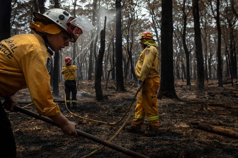 Vrijwilligers van de brandweerbrigade van Mittagong, met vooraan Kimberly Collante. Door in het bos een strook van tien meter breed nat te houden, hopen ze te voorkomen dat het vuur overslaat naar het dorp.