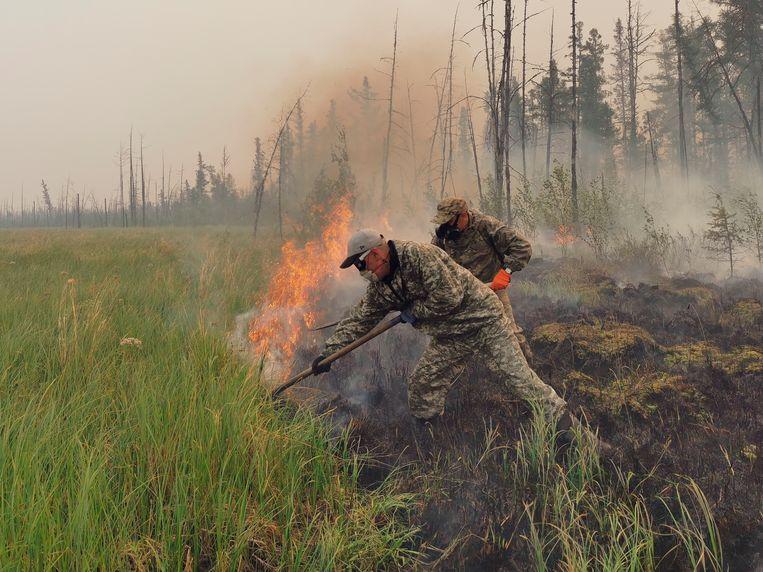 Jakoetië, een autonome republiek binnen de Russische Federatie. Ook hier woeden natuurbranden. Beeld AP